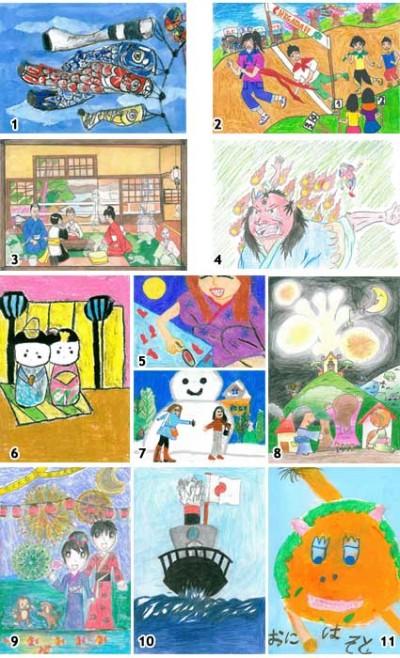 11 desenhos escolhidos para iustrar o calendário de 2011 juntamente com o desenho vencedor