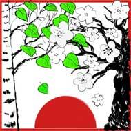White Birch and Cherry Blossoms, de Tatiana Poludenko